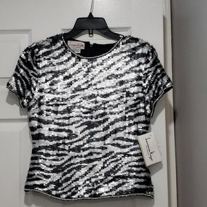 Laurence Kazar Black and Silver Sequin Top